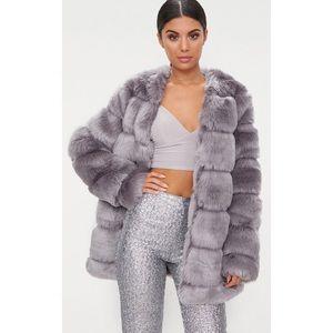 e2541f446d PrettyLittleThing Jackets   Coats - Grey faux fur bubble coat us4 uk8
